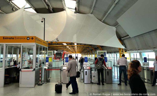 Barrière tourniquet gare Rome-Fiumicino Leonardo Express