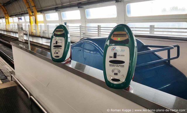Composteur billets train Trenitalia Rome-Fiumicino Leonardo Express