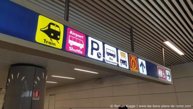 Panneau gare aéroportuaire Rome-Fiumicino