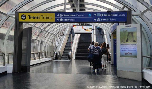 Tunnel souterrain gare aéroport Rome-Fiumicino