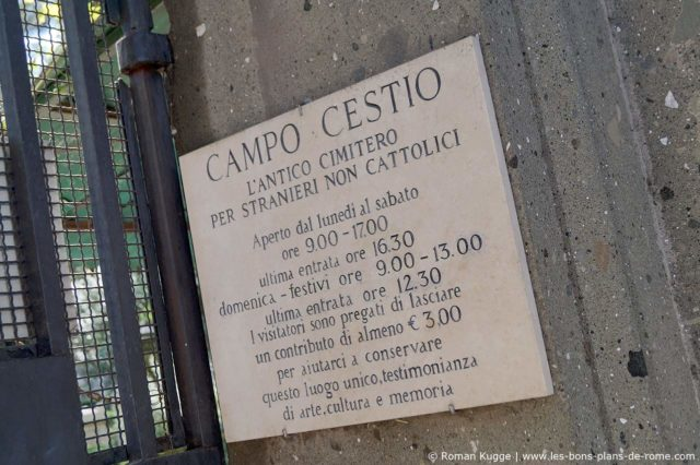 Horaires d'ouverture du cimetière protestant non-catholique de Rome