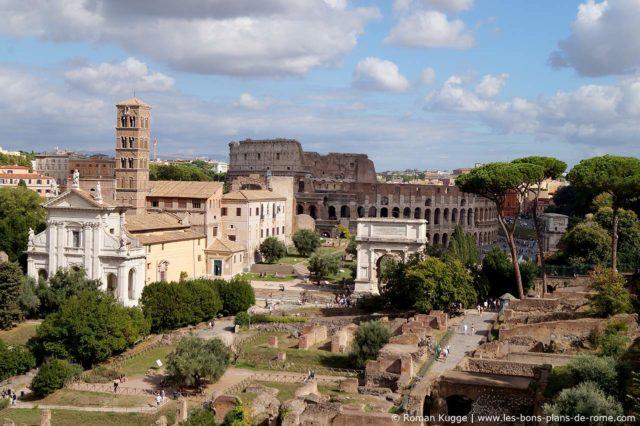 Vue Mont Palatin Forum Romain sur le Colisée