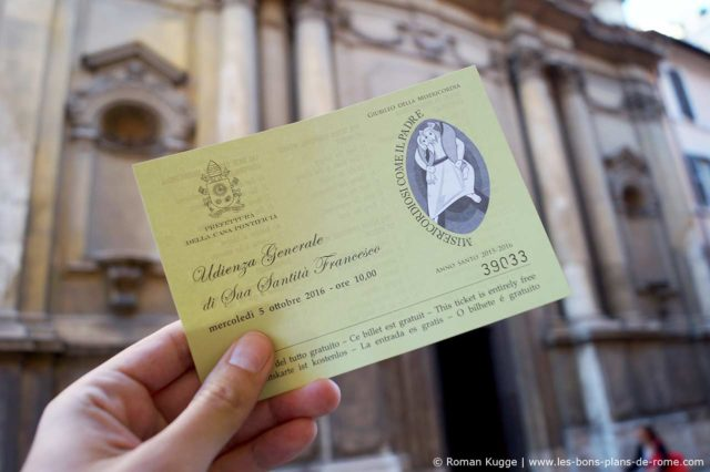 Billet pour les audiences du pape à Rome